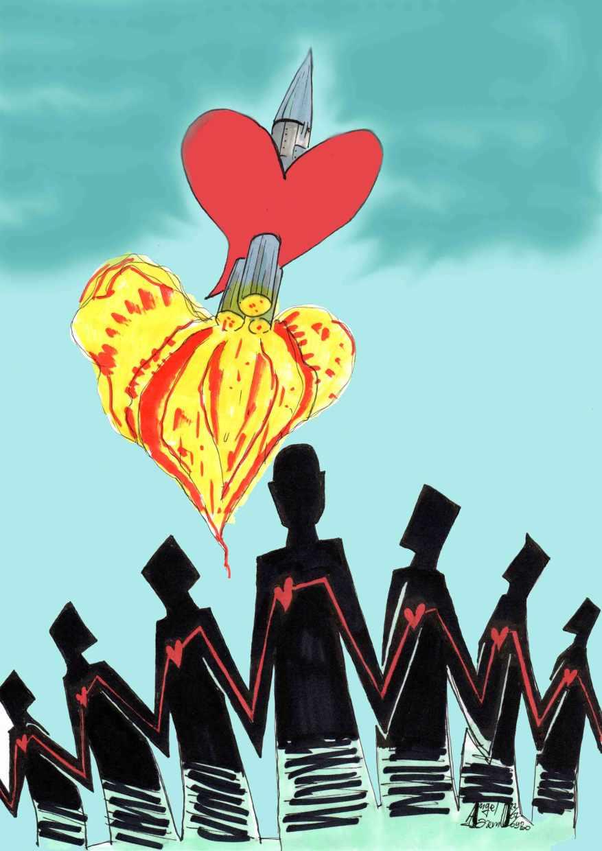 Lancio sentimentale - mia illustrazione pubblicata per la prima volta sulla rivista SISSA News. house-organ della S.I.S.S.A. di Trieste