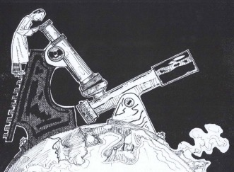 """Astrobiologia - Illustrazione pubblicata per la prima volta nel Dossier """"La vita nell'Universo"""", http://www.torinoscienza.it/dossier/la_vita_nell_universo_2517.html"""